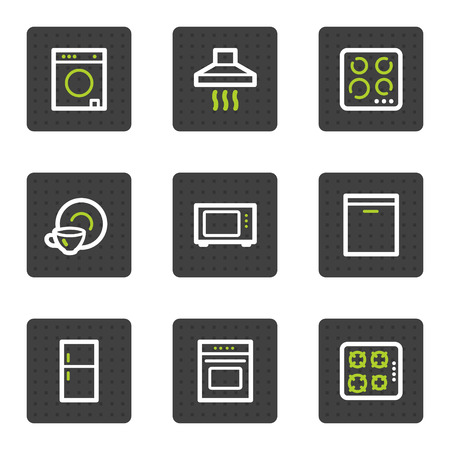 Huishoudelijke apparaten web pictogrammen, grijze vierkante knoppen serie