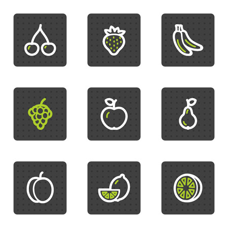 Fruits web icons, grey square buttons series Vector