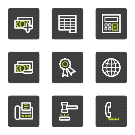 Finance web icons set 2, grey square buttons series Vector