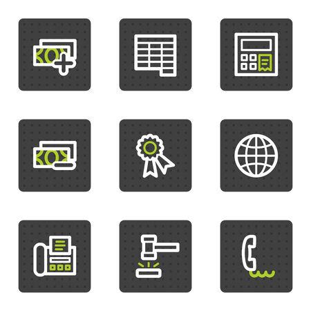 verify: Finanza web icons set 2, quadrato grigio pulsanti serie  Vettoriali