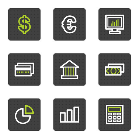 Finance web icons set 1, grey square buttons series Vector