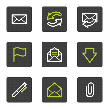 E-mail web icons, grey square buttons series Vector