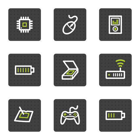 Electronics web icons set 2, grey square buttons series Vector