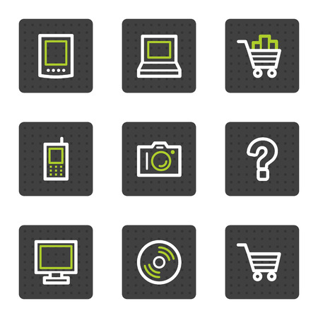 Electronics web icons set 1, grey square buttons series Vector