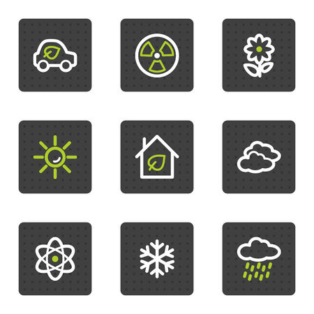 Eco web icons set 2, grey square buttons series Vector
