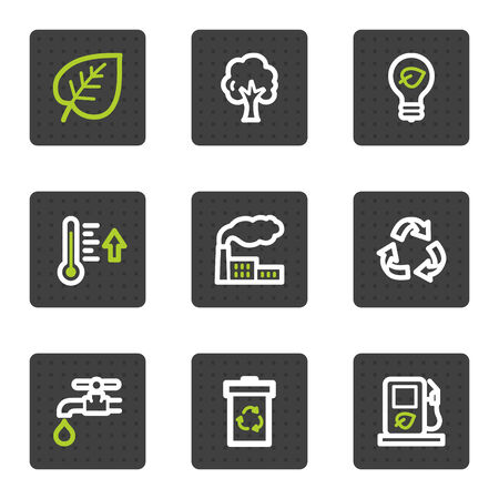 Eco web icons set 1, grey square buttons series Stock Vector - 6493407