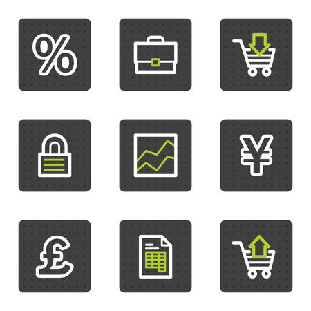 E-business web icons, grey square buttons series Vector