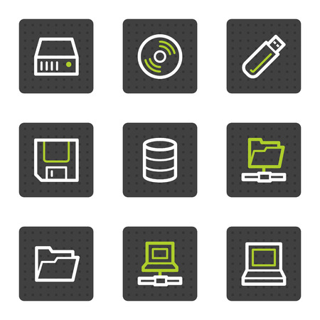 Drives and storage web icons, grey square buttons series Vector