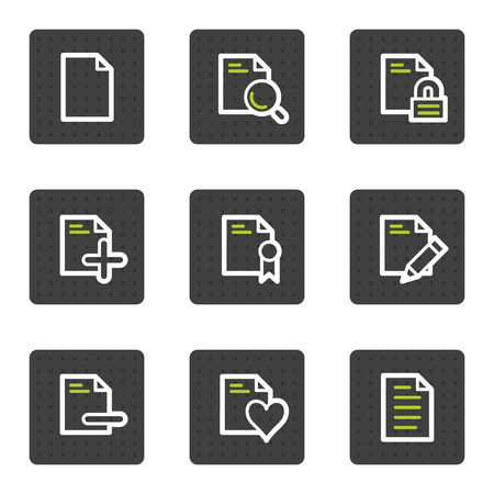 Document web icons set 2, grey square buttons series Vector