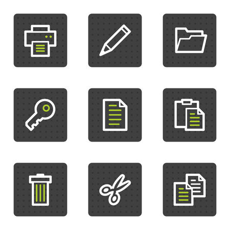 Document web icons set 1, grey square buttons series Vector