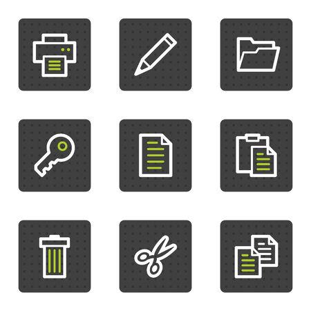 Iconos de la web de documento conjunto 1, cuadrado gris botones de serie