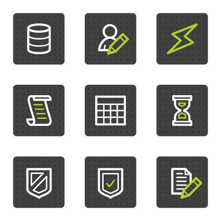 databank: Data base web icons, grijze vierkant knoppen serie