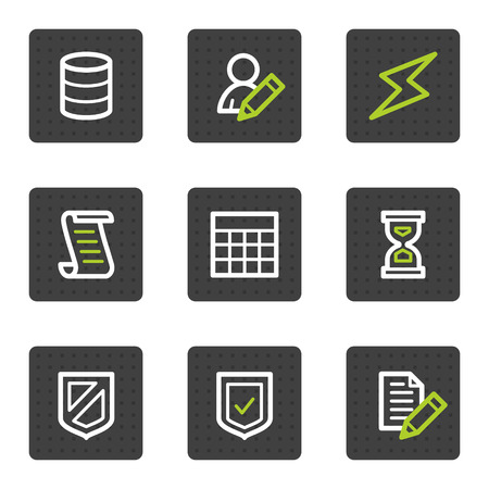 Database web icons, grey square buttons series Vector