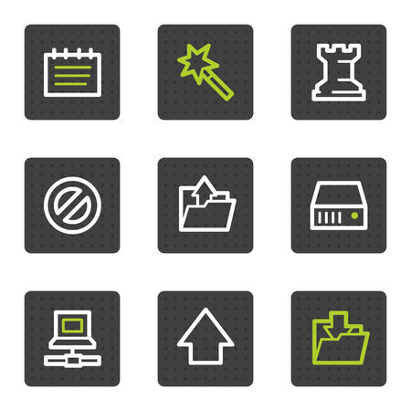 Data web icons, grey square buttons series Vector
