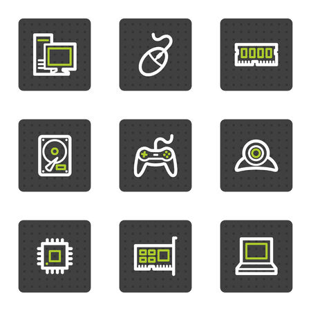 computer memory: Computer web icons, grey square buttons series