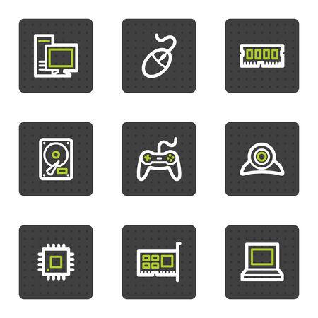 ordinateur bureau: Ordinateur web ic�nes, boutons de carr� gris s�rie
