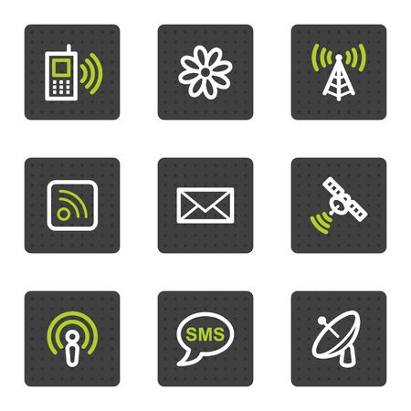 access point: Communication web icons, grey square buttons series Illustration