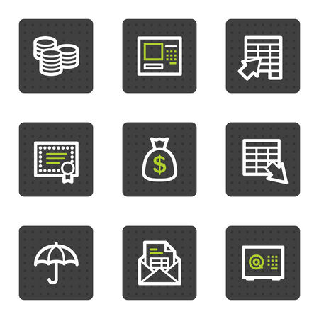 Banking web icons, grey square buttons series Vector