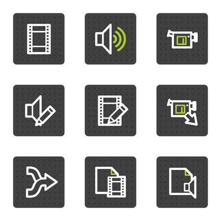 videocamera: Audio video edit web icons, grey square buttons series