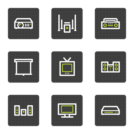 Audio video web icons, grey square buttons series Vector