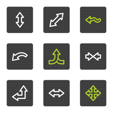 Arrows web icons set 2, grey square buttons series Vector