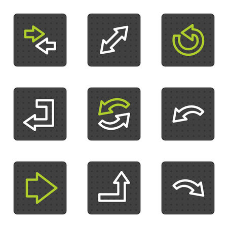 Arrows web icons set 1, grey square buttons series Vector