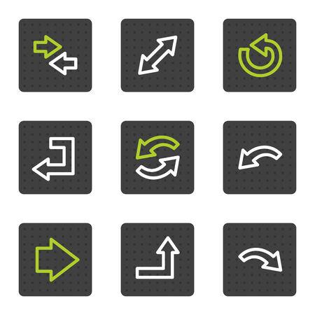 Pijlen web pictogrammen set 1, grijze vierkant knoppen serie