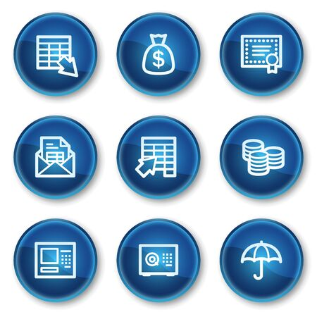 Banking web icons, blue circle buttons Vector