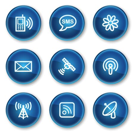 Communication web icons, blue circle buttons Vector