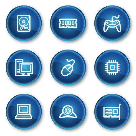 Computer web icons, blue circle buttons Stock Vector - 6564920