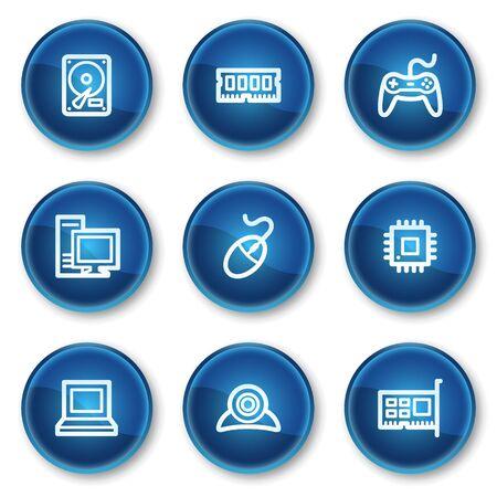 webcamera: Computer web icons, blue circle buttons
