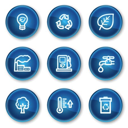 Ecology web icons set 1, blue circle buttons Stock Vector - 6564923