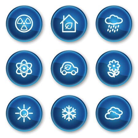 Ecology web icons set 2, blue circle buttons Vector