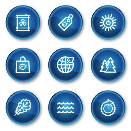 Ecology web icons set 3, blue circle buttons Stock Vector - 6564916