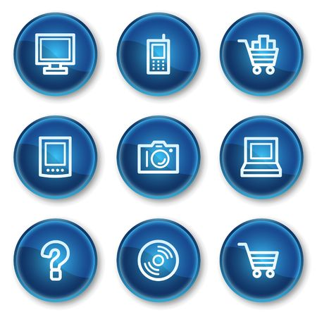 shopping questions: Electronics web icons set 1, blue circle buttons