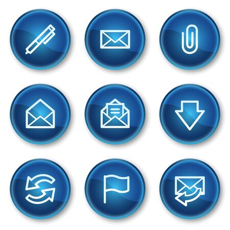 webmail: E-mail web icons, blue circle buttons