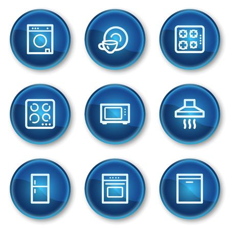 Home appliances web icons, blue circle buttons Vector