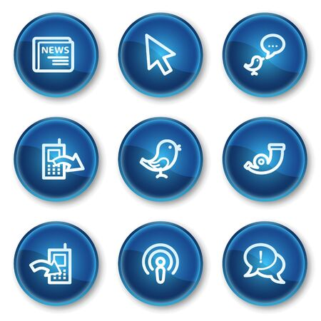 Internet web icons set 2, blue circle buttons Stock Vector - 6564908