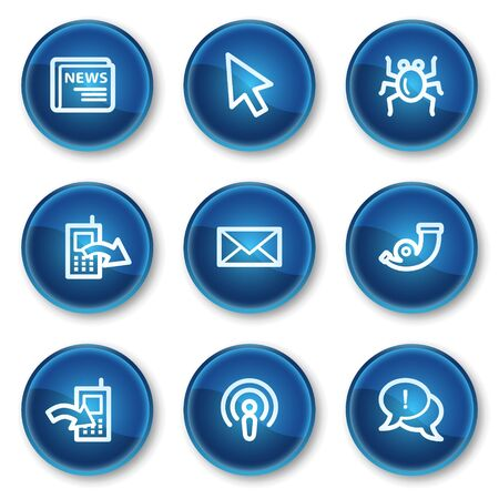 Internet web icons set 2, blue circle buttons Vector