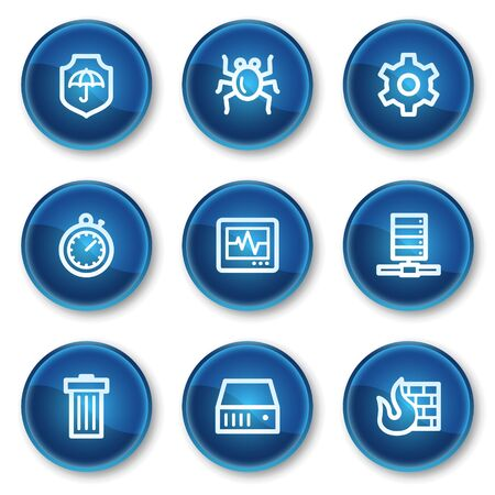 Internet security web icons, blue circle buttons Vector