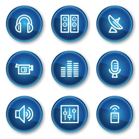 Media web icons, blue circle buttons Stock Vector - 6564901