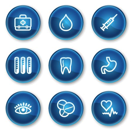 oculist: Medicine web icons set 1, blue circle buttons Illustration