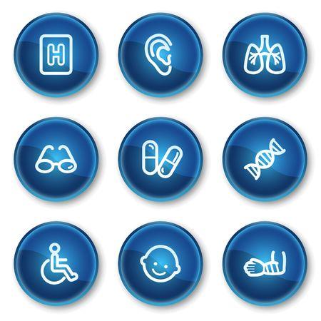 Medicine web icons set 2, blue circle buttons Vector