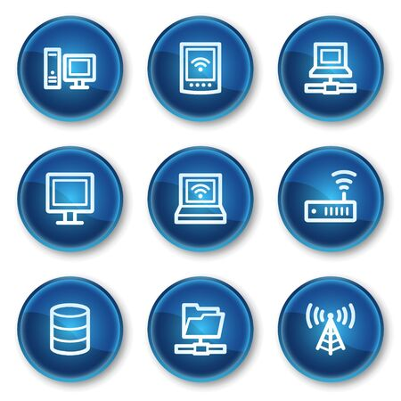 Network web icons, blue circle buttons Illustration
