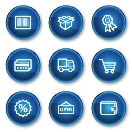 Shopping web icons set 2, blue circle buttons Stock Vector - 6564910
