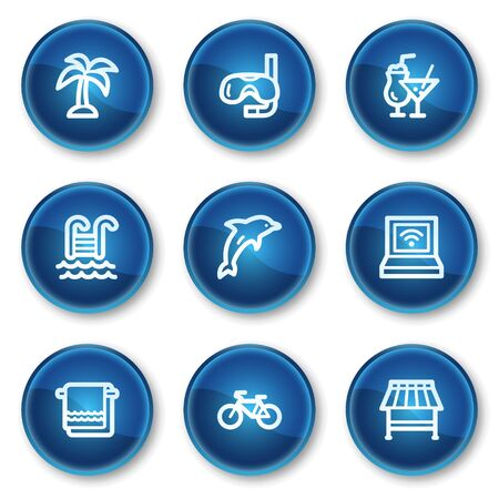 Vacation web icons, blue circle buttons Vector