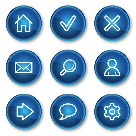 Basic web icons, blue circle buttons Stock Vector - 6564890