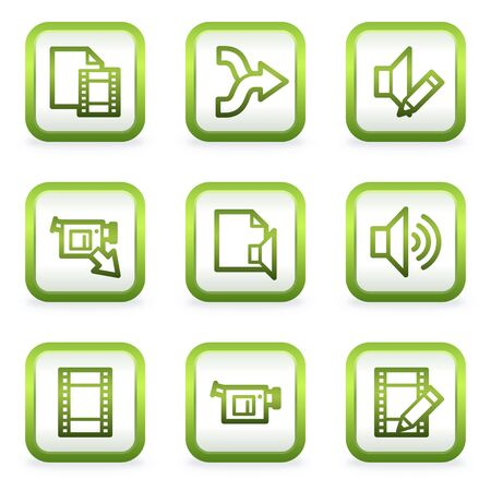 Audio video edit web icons, square buttons, green contour Vector