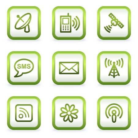Communication web icons, square buttons, green contour Stock Vector - 6622406