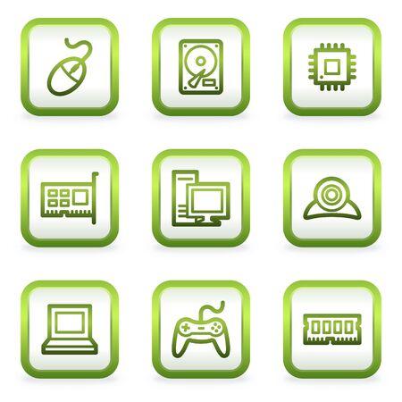 webcamera: Computer web icons, square buttons, green contour